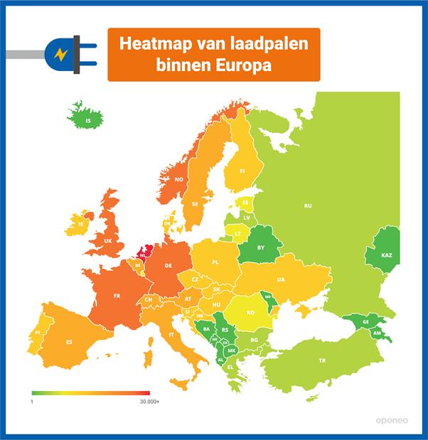 Laadpalen Europa heatmap